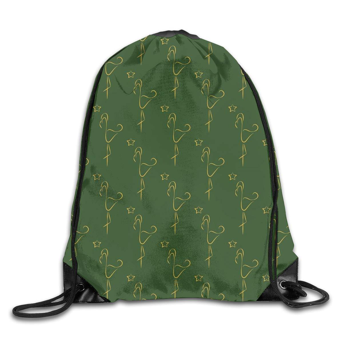 Mochila con cord/ón para mujer verde Flamingos