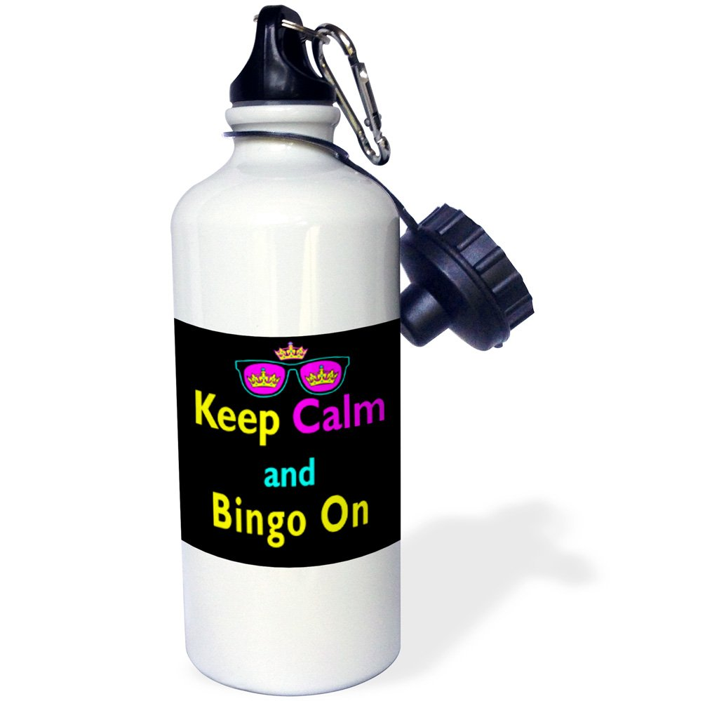 3dRose wb_116548_1 ''CMYK Keep Calm Parody Hipster Crown And Sunglasses Keep Calm And Bingo On'' Sports Water Bottle, 21 oz, White by 3dRose