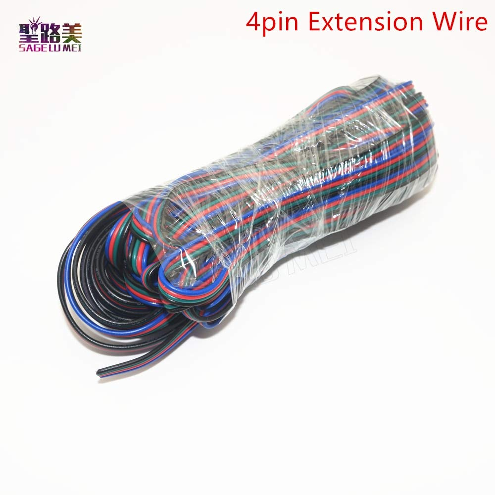 Gimax 5m/10m/20m/ 50m 2pin single /3pin 2811RGB /5pin RGBW Extension 4Pin RGB+White/RGB+Black Wires Connector Cable For RGB LED Strip - (Color: 5pin wires, Package: 50 meters)