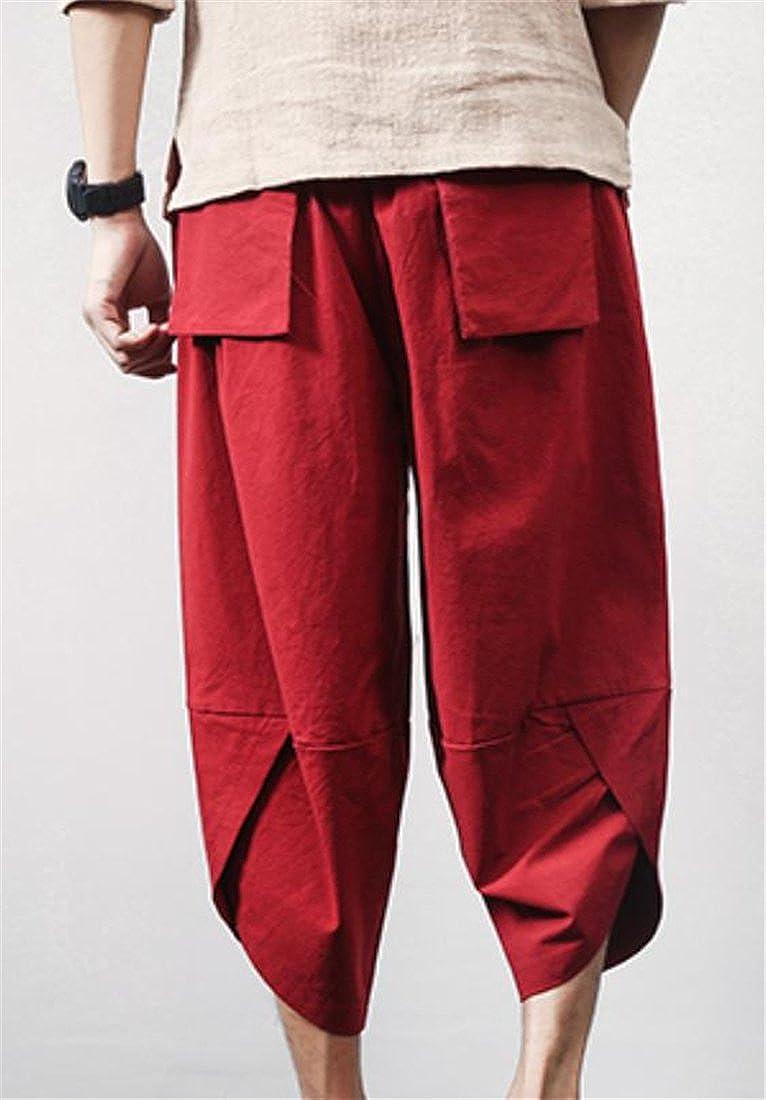 Pandapang Mens Lantern Capri Cotton Linen Harem Leisure Plus Size Activewear Pants Wine Red XXS