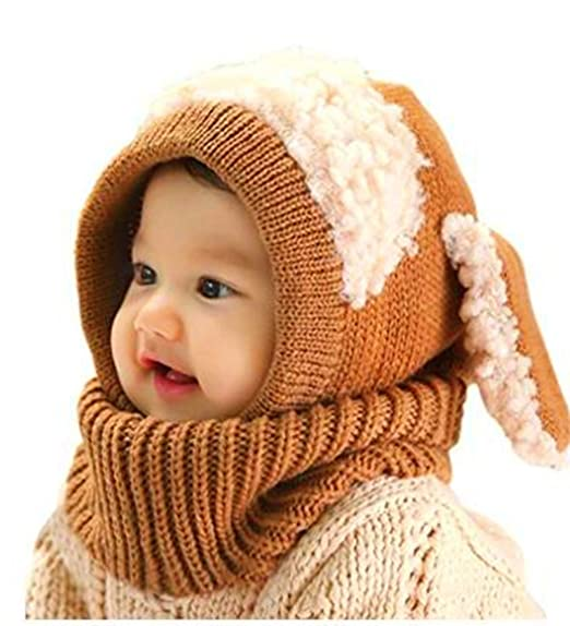 e506b8416d3 Image Unavailable. Image not available for. Color  Winter Warm Knit Cotton  Wool Hat Scarf Set ...