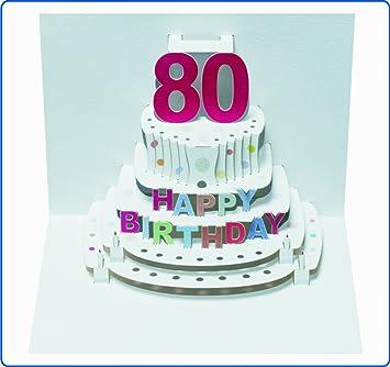 Pop Up 3d Karte Geburtstagskarte 80 Geburtstag Gutschein Torte