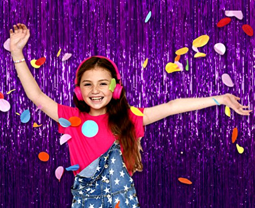 Treasures Gifted Purple Party Decorations Tinsel Foil Fringe Curtain Birthday Decoration 3 x 8 Feet, Pack of 2 Metallic Plastic Door Curtains Fringes for Photobooth Backdrop for $<!--$9.58-->