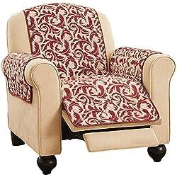 Reversible Scrolling Leaf Furniture Protector Cover, Burgundy, Recliner