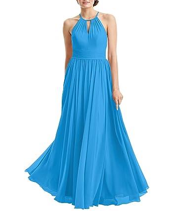 LANSITINA Womens Elegant Halter Chiffon Bridesmaid Dresses Maxi Prom Gown(2,Ocean Blue)