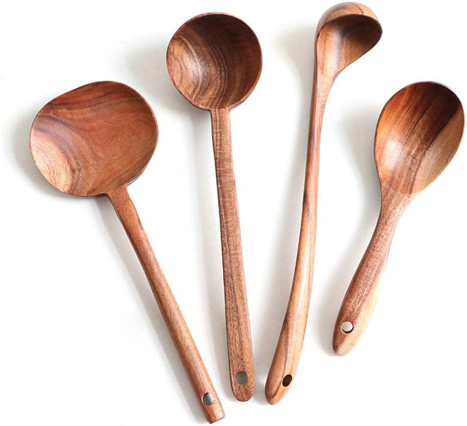 Wooden Ladles Kitchen Spoon Set Utensils, 4 Pcs Handmade Natural Teak Long Handle Wooden Soup Ladle Spoon for Dinner, Salad Desserts, Snacks, Fruit, Mixing Ladle Scoop…