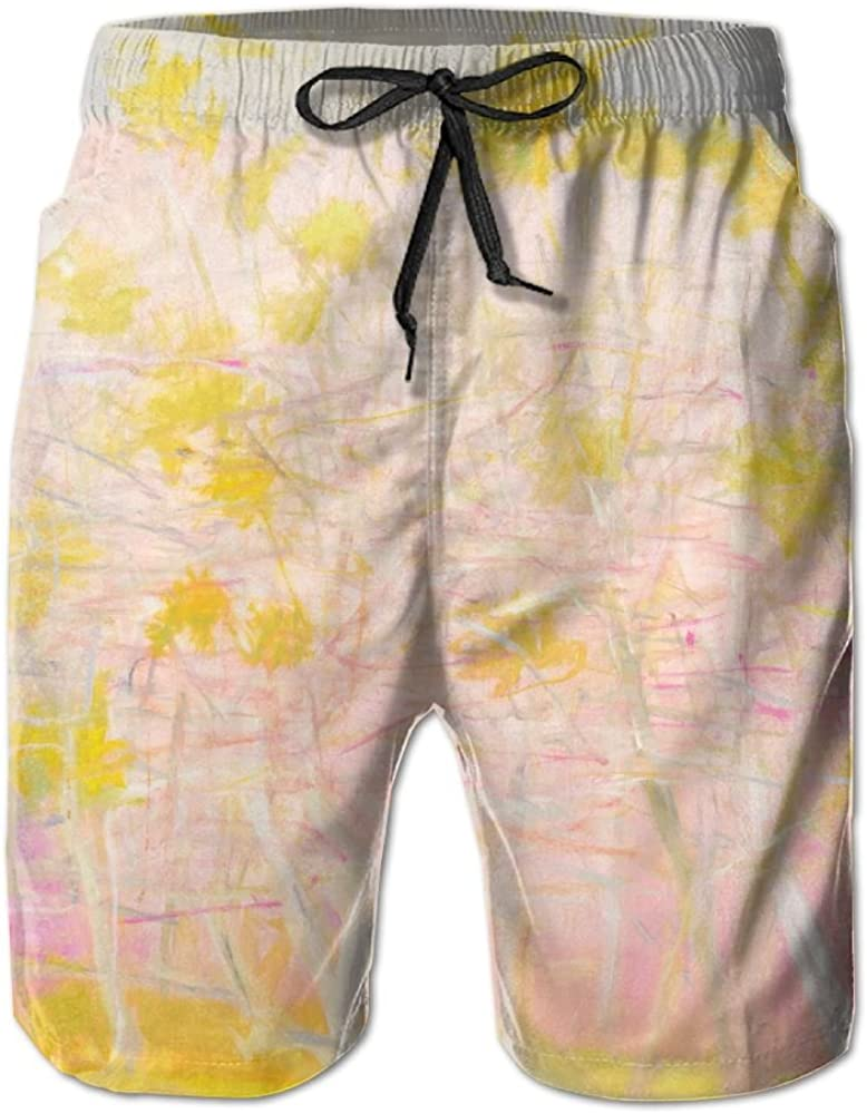 LUASD Mens Pink Quick Drying Ultra Light Surf Pants Swim Trunks