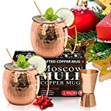 Moscow Mule Copper Mugs - Set of 2 - 100% HANDCRAFTED – Food Safe Pure Solid Copper Mugs - 16 oz Gift Set - BONUS Highest Quality Cocktail Copper Straws & Jigger - Christmas & New Year Gift