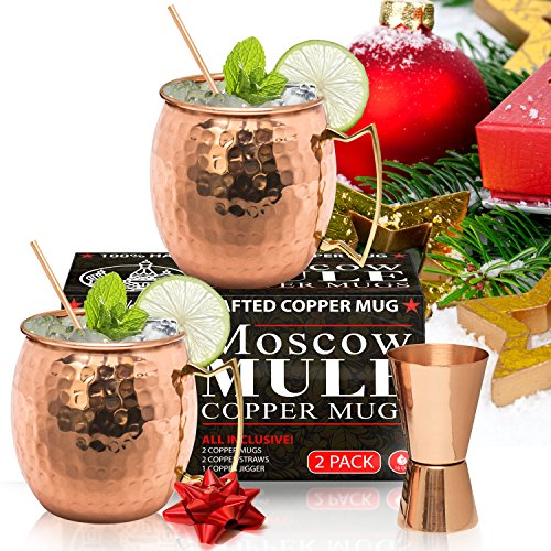Moscow Mule Copper Mugs - Set of 2 - 100% HANDCRAFTED – Food Safe Pure Solid Copper Mugs - 16 oz Gift Set - BONUS Highest Quality Cocktail Copper Straws - Christmas Tree Pineapple