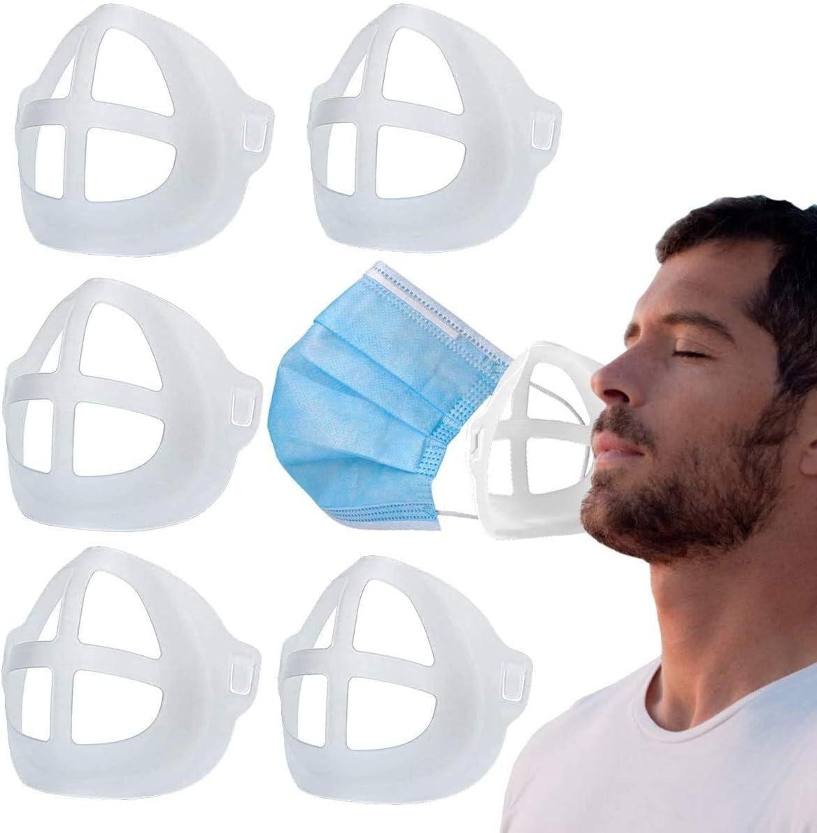 Soporte de máscara 3D con marco de silicona para protección de lápiz labial, aumentar el espacio de respiración deportiva, lavable reutilizable suave y cómodo maquillaje protector (5 piezas blancas)