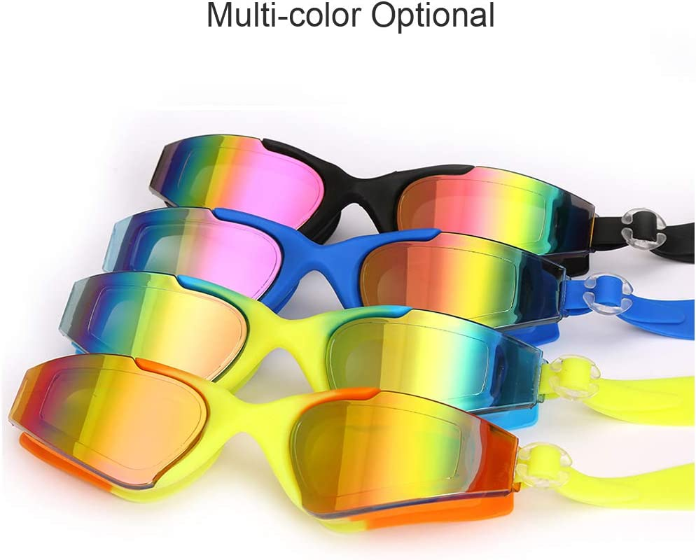 YUELANG Swim Goggles Nose Clip and Ear Plugs for Adult Men Women Youth Kids Age 8-14 Professional Swim Glasses Set with Free Protection Case No Leaking Anti-Fog UV Protection Swimming Goggles