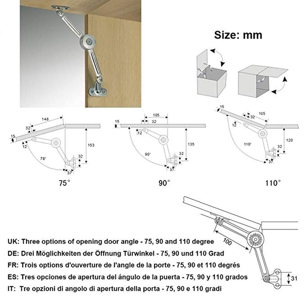 Cupboard Doors Window Hinges QBOSO Cabinets Folding Lid Stay Hinge Wardrobe Lift up Support Buffer Hinge 40lb/110 Degree  ( Grooves Style 1 Pair)  by QBOSO (Image #7)
