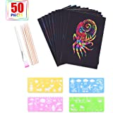 aierliusa Scratch Pictures Set for Children, Scratch Paper Set, 50 Large Sheets of Rainbow Scratching Paper for Drawing…