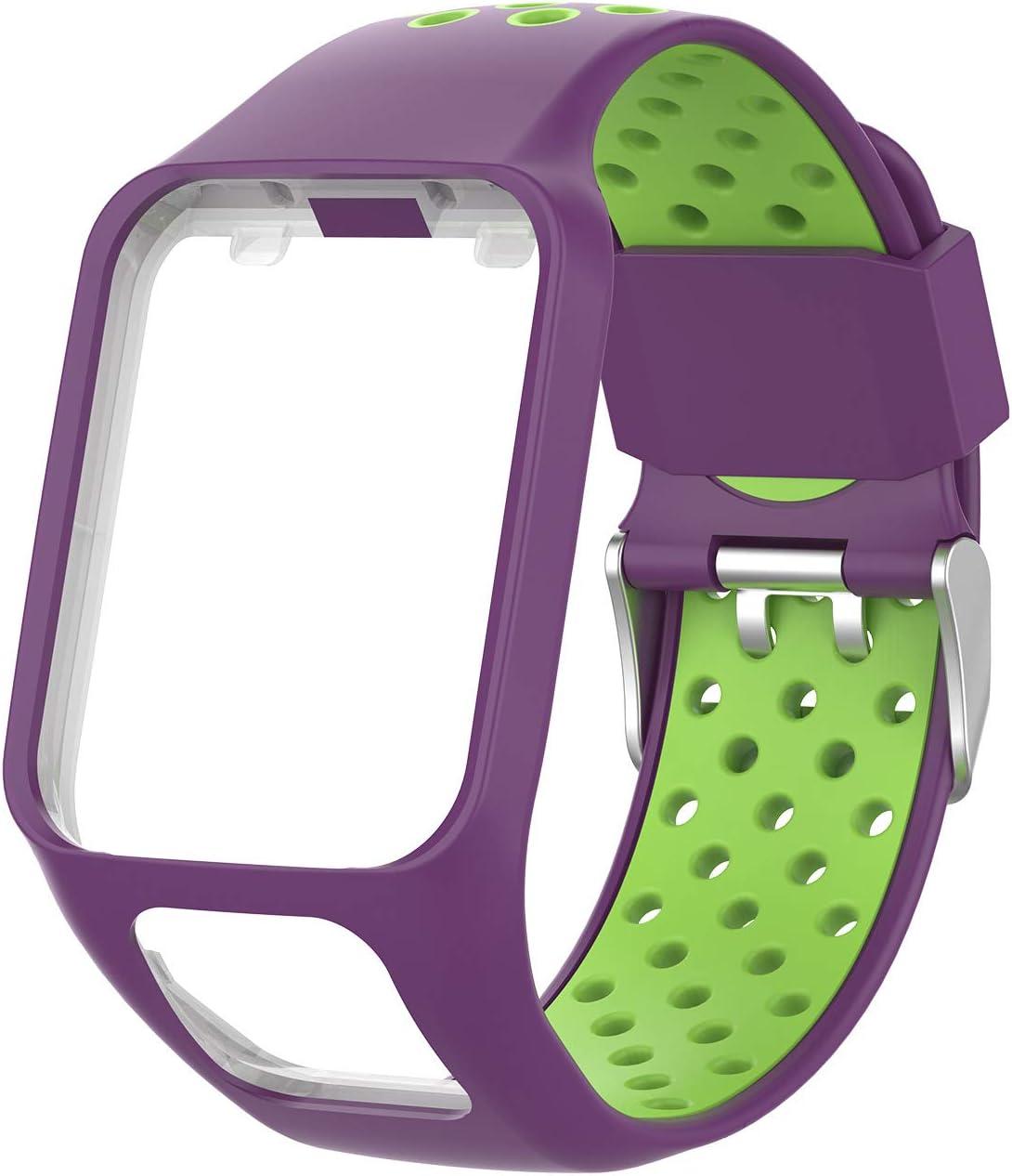 Noir/&Sarcelle Runner 3 MCO Bracelet Tomtom Adventurer Montre,Bracelet De Rechange en Silicone pour Tomtom Runner 2 Aventurier//Golfeur 2 Sports GPS Running Spark 3