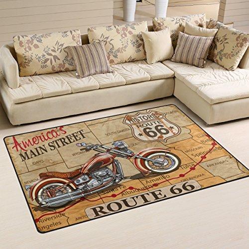 WellLee Area Rug,Vintage Route 66 Motorcycle Poster Floor Rug Non-slip Doormat for Living Dining Dorm Room Bedroom Decor 60x39 Inch]()