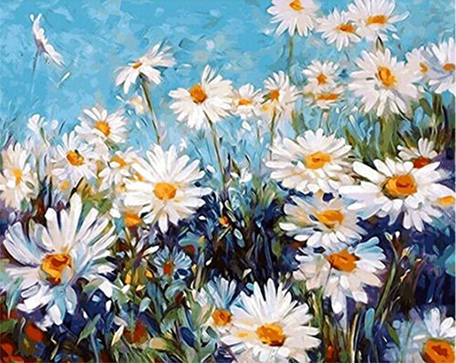 ABEUTY DIY Paint by Numbers for Adults Beginner - Beautiful Field Daisy 16x20 inches Number Painting Anti Stress Toys (Wooden Framed)