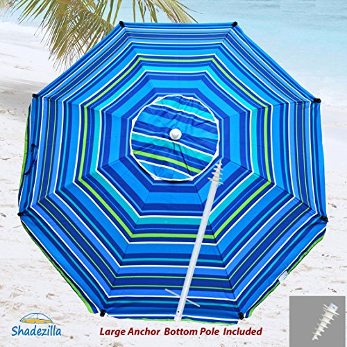 8ft Premium Heavy Duty Fiberglass Beach Umbrella UPF 100+ with Integrated Sand Anchor