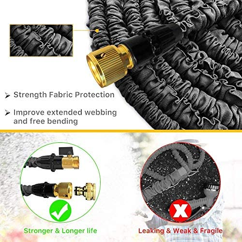 Expandable Garden Hose Pipe 100FT Expanding Water Hose 8 Function Spray Gun Double Latex Inner Tube Solid Brass Fittings,Flexible Hose Pipes