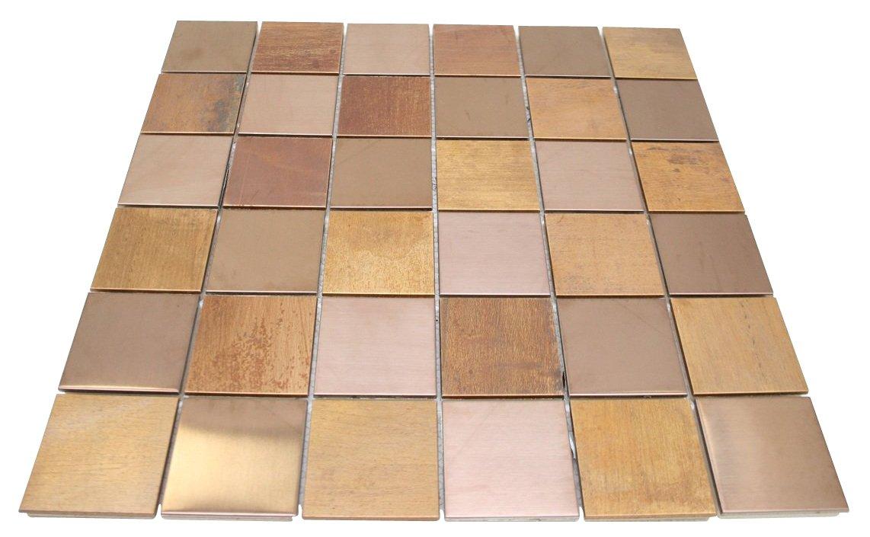 Matte Wood Look Bronze Metallic Square Glass Mosaic Tiles for Bathroom and Kitchen Walls Kitchen Backsplashes