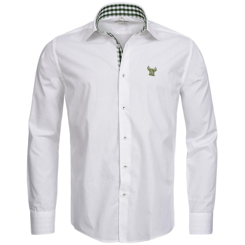 Trachtenhemd Body Fit zweifarbig in Weiß und Grün von Gweih & Silk