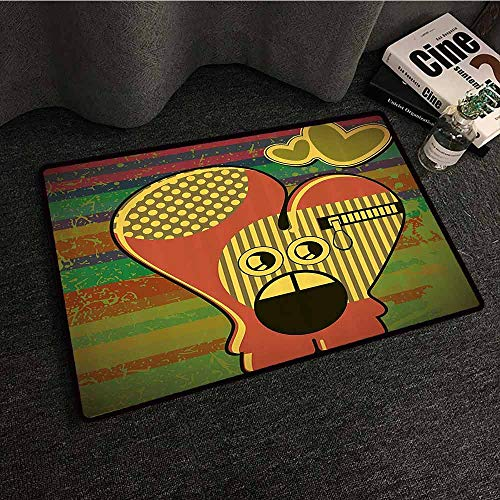 Modern Washable Doormat Cute Monster on Grunge Striped Backdrop with Zipped Head Heart Graphic Quick and Easy to Clean W35 xL59 Yellow Coral Olive - Head Heart Seminole