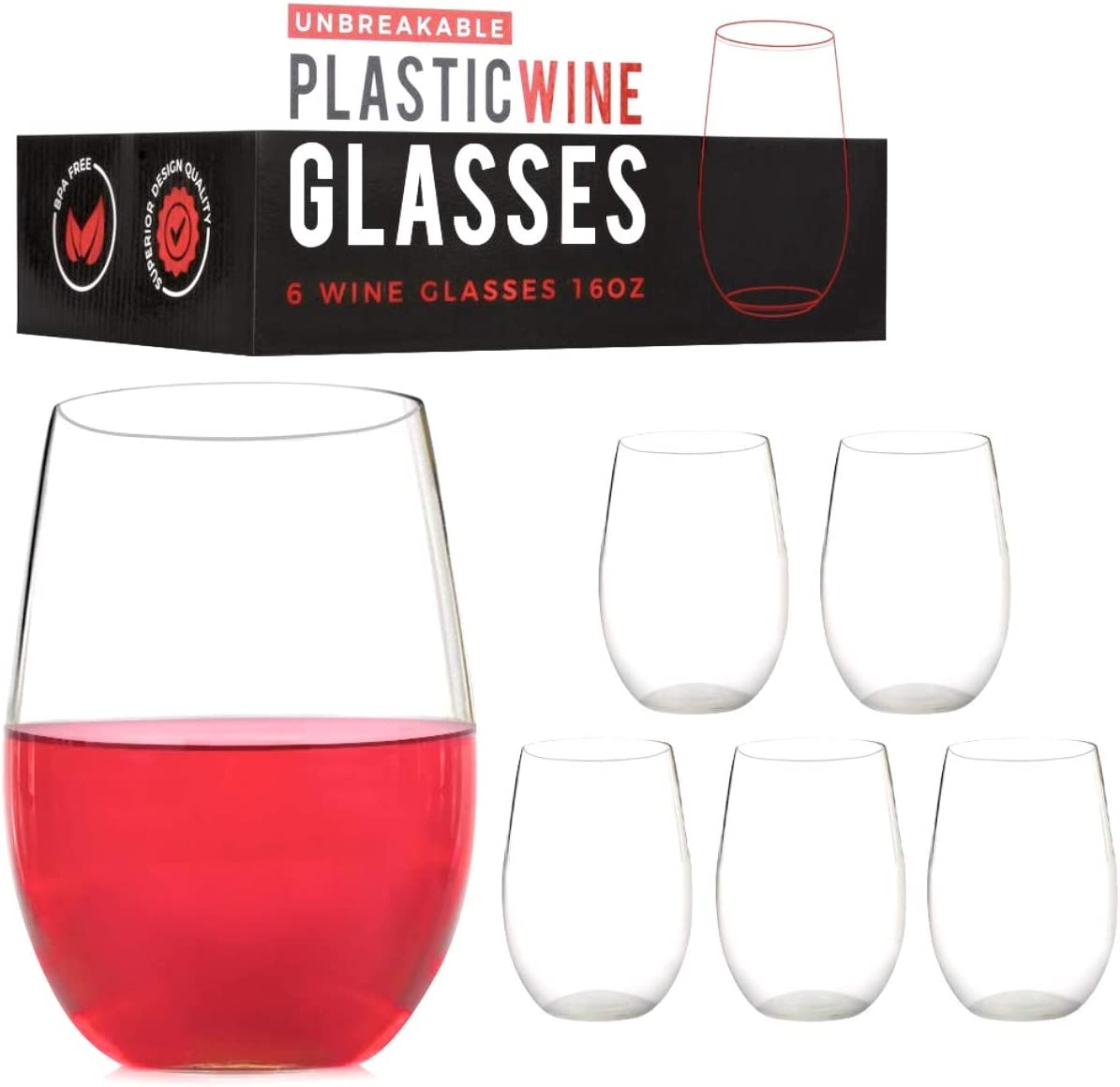ConnectedPlus Stemless Plastic Wine Glasses: 16 oz Set of 6 Shatterproof Tritan, Unbreakable Party Glass Wine Tumblers - Reusable Stemless Wine Cups Perfect for Outdoor Picnics or Pool Parties