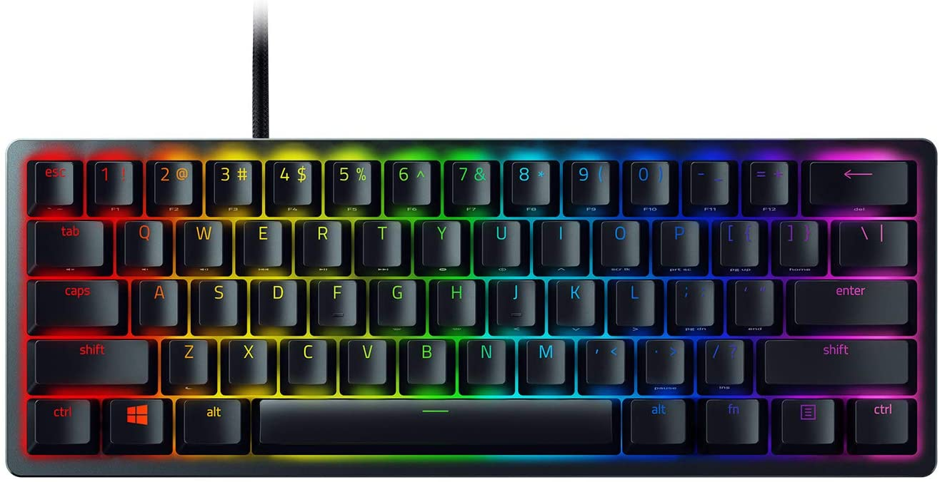 Amazon Com Razer Huntsman Mini 60 Gaming Keyboard Fastest Keyboard Switches Ever Clicky Optical Switches Chroma Rgb Lighting Pbt Keycaps Onboard Memory Classic Black Computers Accessories