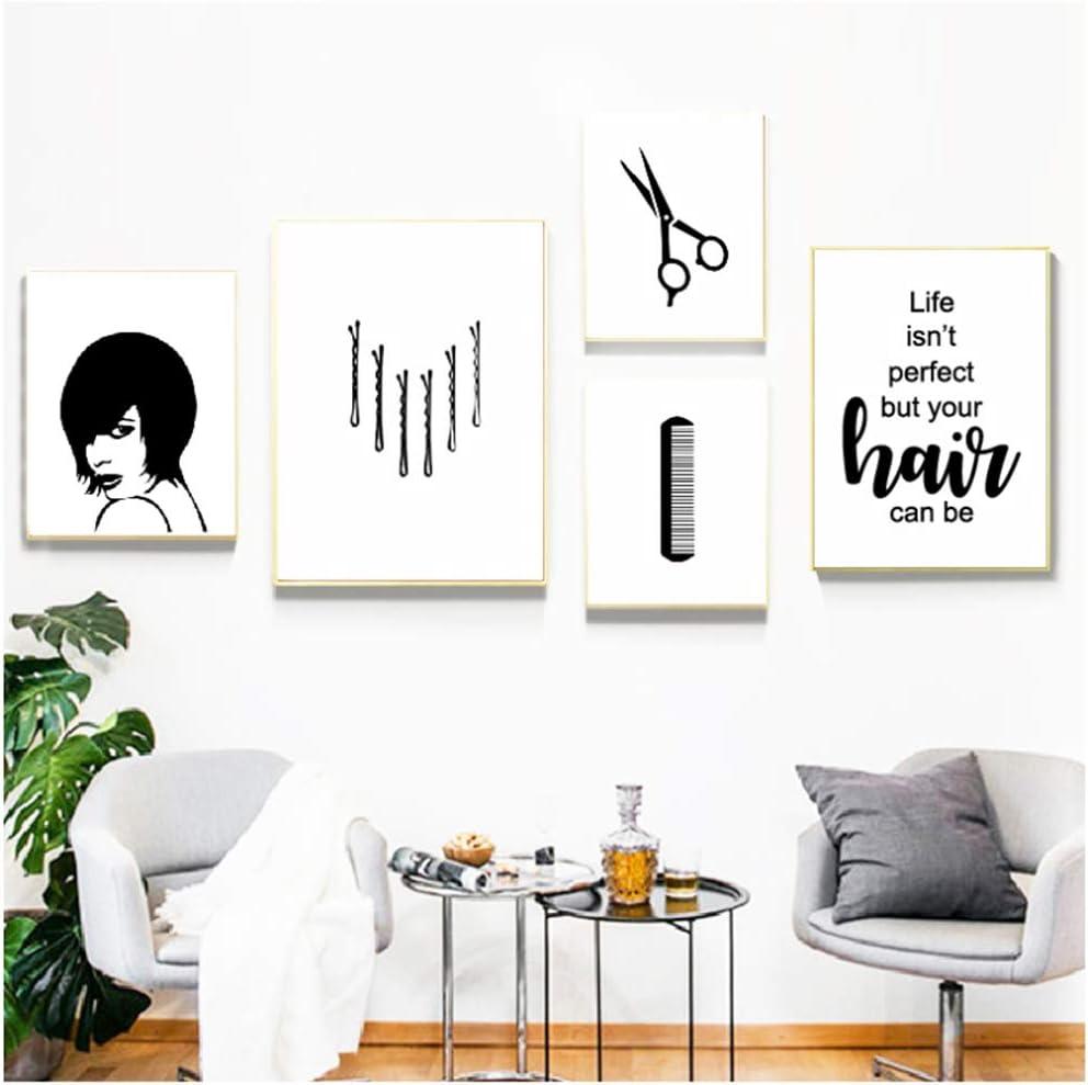 Estilista de cabello Regalo Arte de la pared Pintura de la lona Cuadro Minimalismo moderno Carteles e impresiones Peluquería Salón Decoración de la pared-40x60cm 40x50cm 30x40x3Pcscm Sin marco