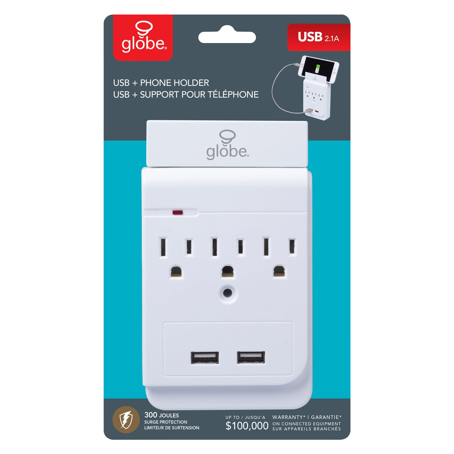 Globe Electric 2-Outlet Charging Station Surge Protector Wall Tap, 2X USB Ports, Phone Holder, White Finish 78079