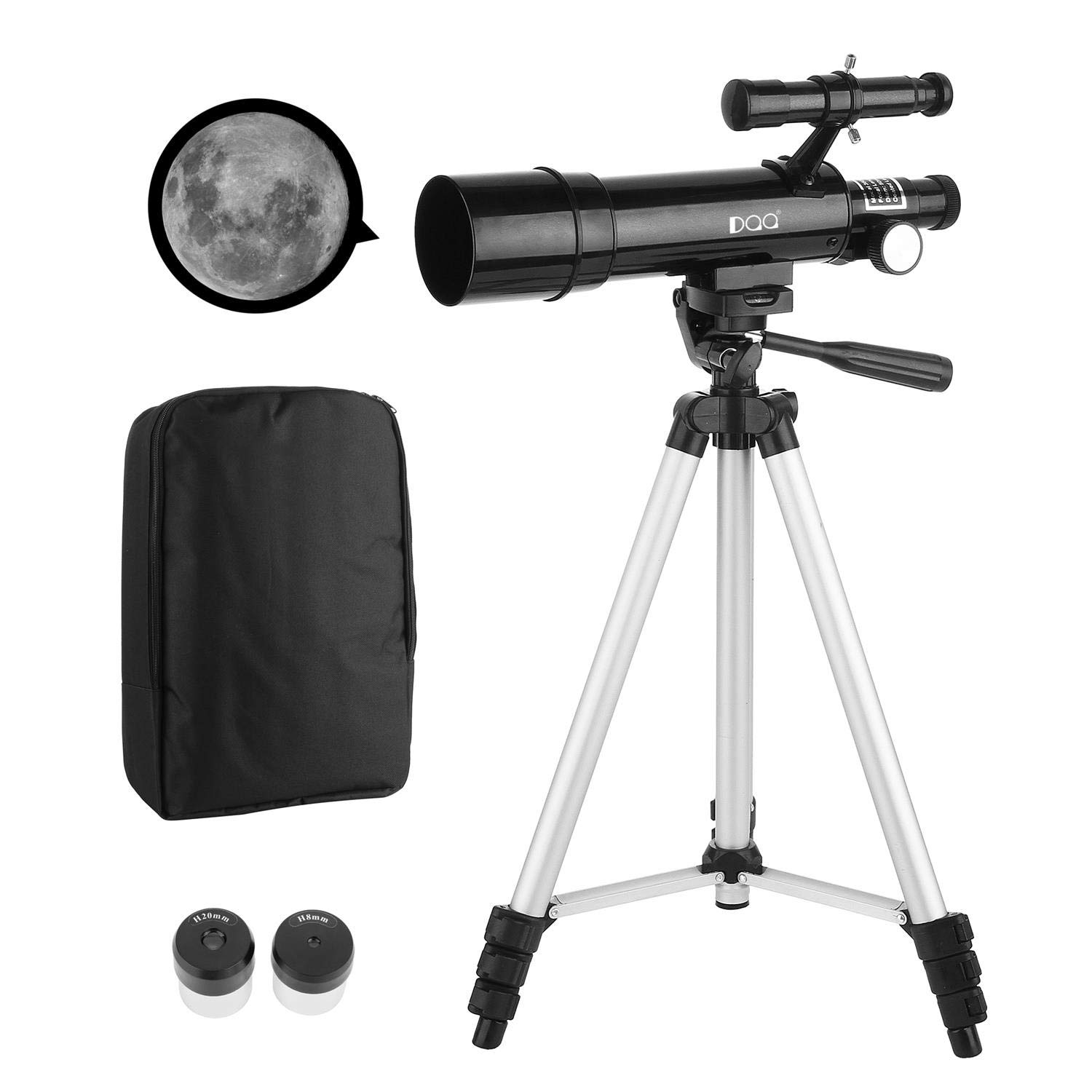 DQQ Refractor Finderscope Astronomy Educational Telescope for Kids Beginners Travel Scope with Tripod and Backpack Black 50mm,3X Barlow Lens by DQQ