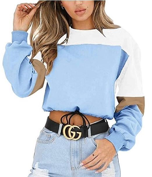 Shujin Damen Herbst Elegant Pullover Langarm Cropped Top mit Schnürung Bauchfrei Sweatshirt Casual Oberteile Kurz Pullover Jumper