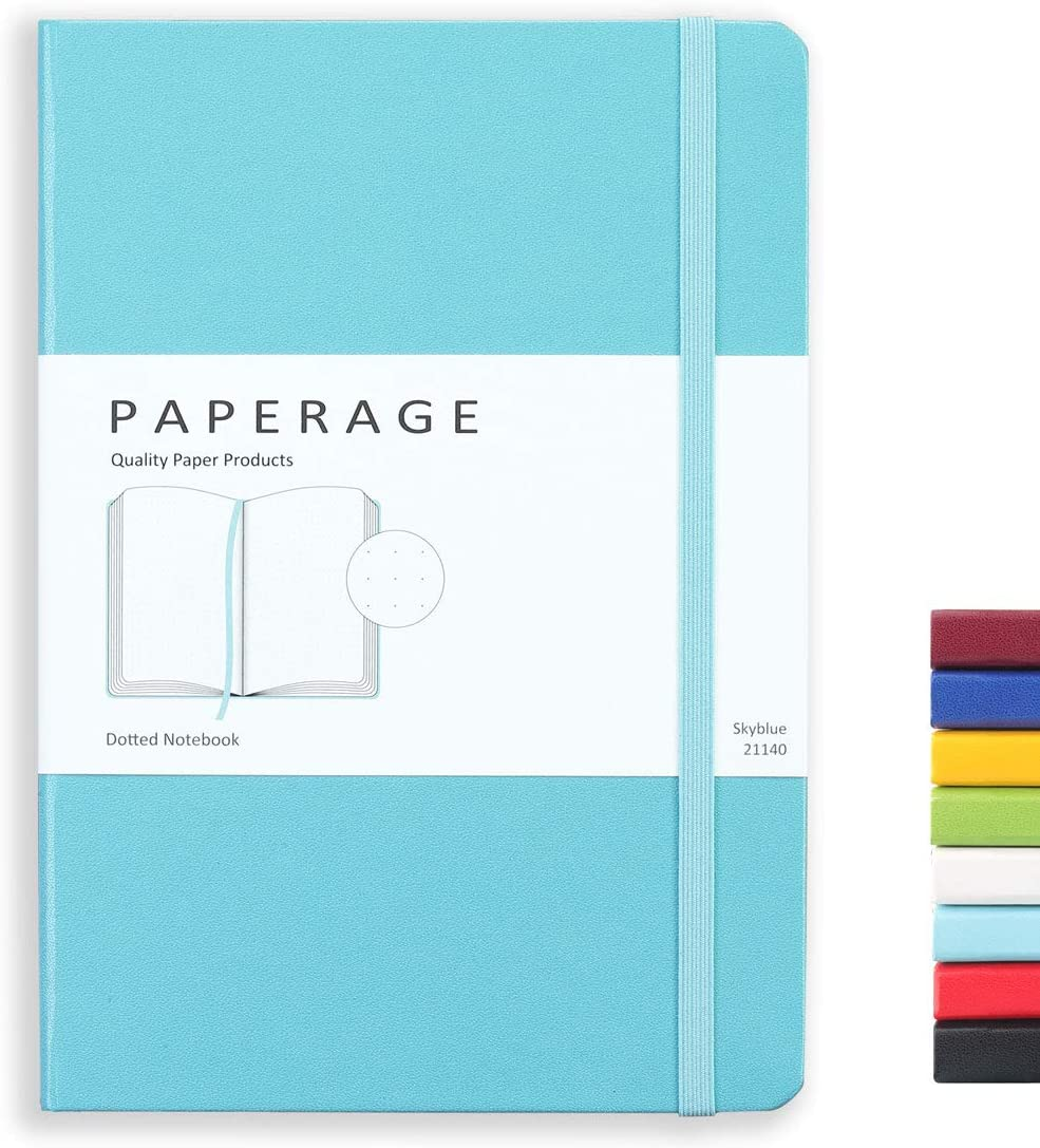 Paperage Dotted Journal Bullet Notebook, Hard Cover, Medium 5.7 x 8 inches, 100 gsm Thick Paper (Blue, Dotted)