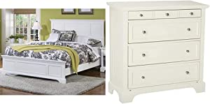 Naples White Queen Bed by Home Styles & Naples White Finish Four Drawer Chest Including Top Drawer Felt Lined for Jewelry