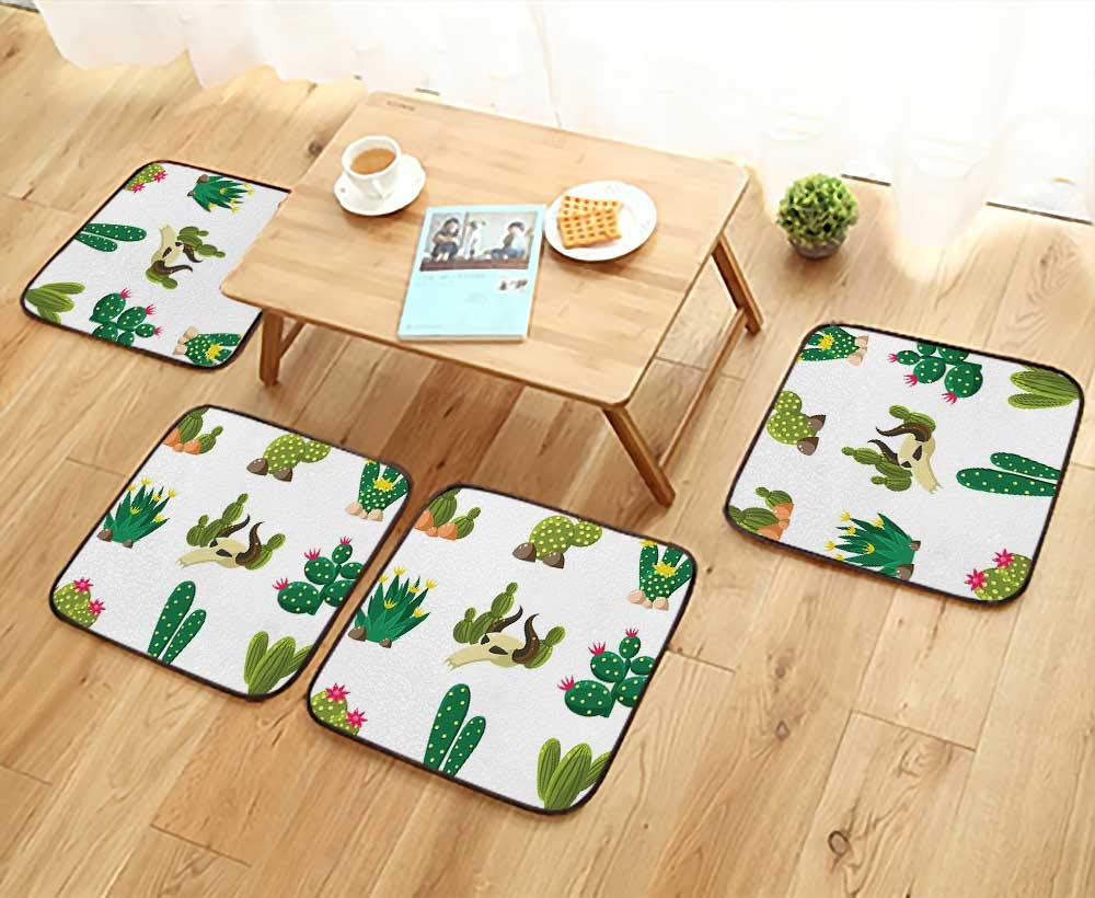 Leighhome Elastic Cushions Chairs Mexican South Desert Animals Cactus Plants Skeletons Flowers Cartoon Image Multicolor for Living Rooms W29.5 x L29.5/4PCS Set
