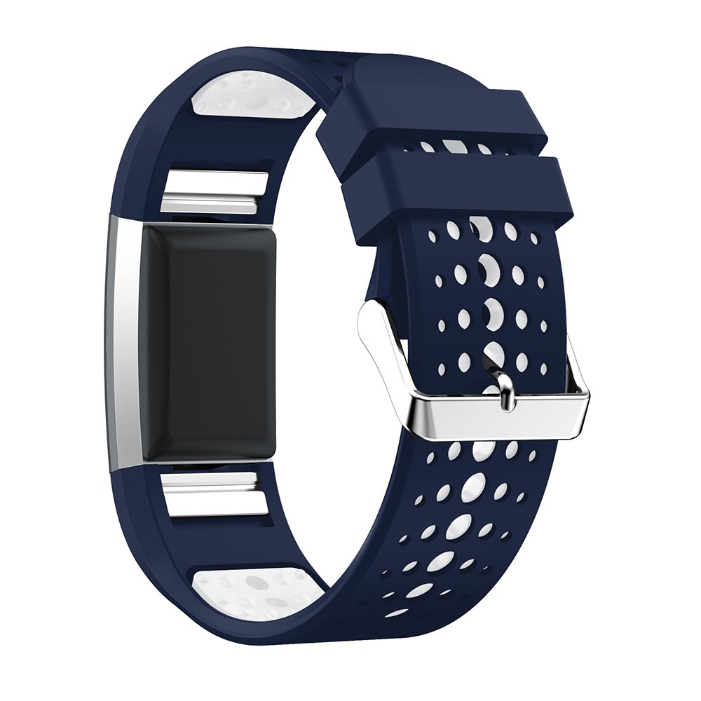 huamecl for Fitbit Charge 2用時計バンド、ソフトシリコンスポーツ交換用ストラップバンドFitbit Charge 2 Smart Watch Huamecl  Midnight Blue/White B07C9G5WN4