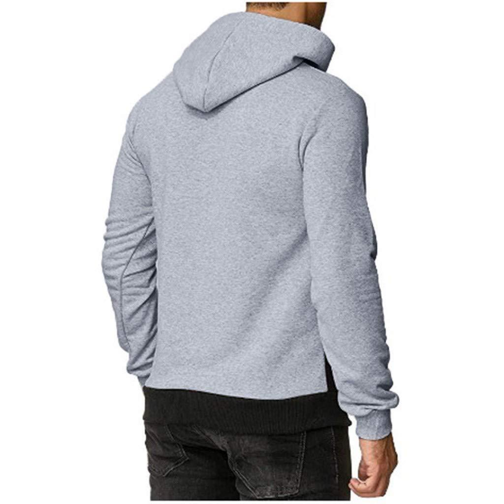 Beautyfine Autumn Winter Casual Sweatshirt Tops Long-Sleeved T-Shirt Solid Hooded Tracksuits Mens Hoodies
