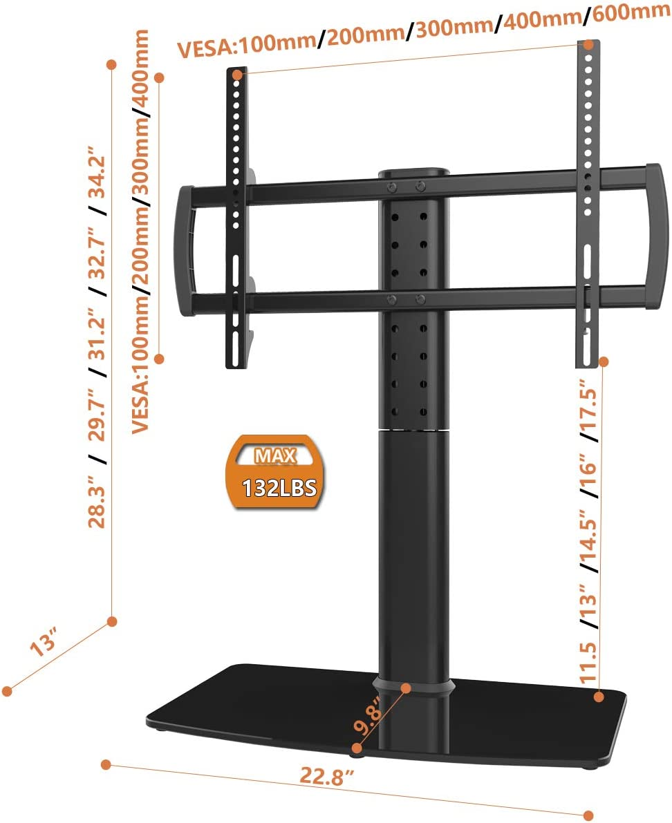 HT04B-003 Universal Swivel TV Stand//Base Table Top TV Stand 40 to 80 inch TVs 110 Degree Swivel 5 Level Height Adjustable Holds up to 132lbs Screens Heavy Duty Tempered Glass Base