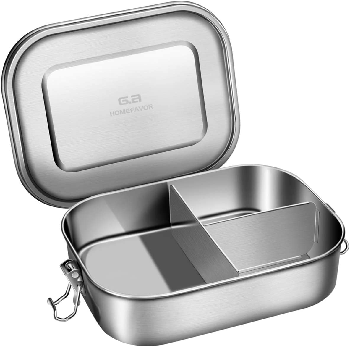 Leak Proof Stainless Steel Food Container, G.a HOMEFAVOR Bento Lunch Box with 3-Compartment,1400ML,BPA free for Work or Healthy School Lunch Box, Dishwasher Safe