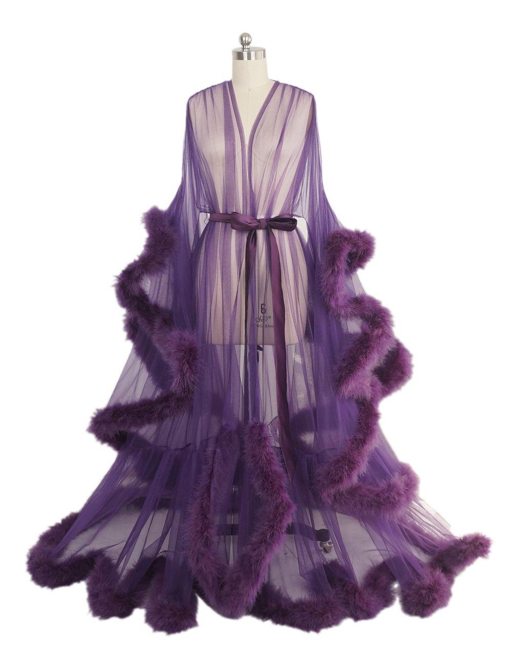 Sexy Feather Bridal Robe Tulle Illusion Long Wedding Scarf New Custom Made … (Dark Purple)