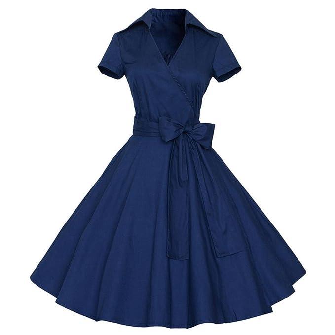 Vestidos de Fiesta Cortos, Lenfesh Classy 50s 60s de Vintage Vestidode Fiesta, Audrey Hepburn estilo Swing Vestido Mangas Cortas Cuello redondo con Cinturón ...