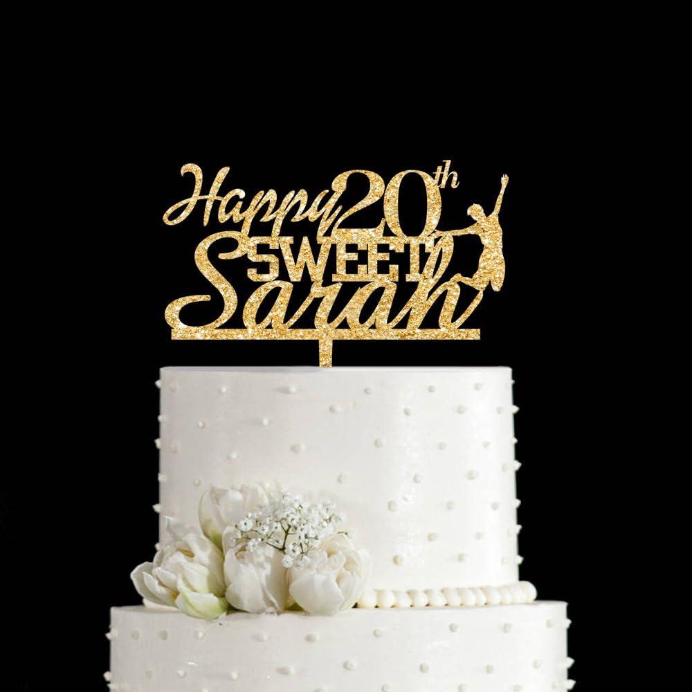 Pleasing Amazon Com Kiskistonite Happy Birthday 20Th Cake Topper Happy Funny Birthday Cards Online Hetedamsfinfo