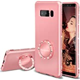 Note 8 Case for Women, Glitter Pink Phone Cases with Kickstand Ring Stand Holder Girl Cute Rose Gold Cover Luxury Diamond Sparkly Bling Note 8 Case for Girls