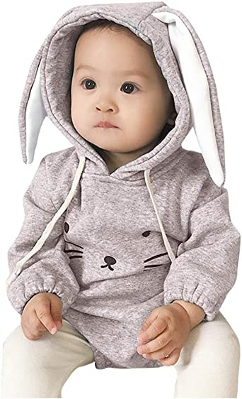 KE/_ Baby Infants Boys Girls Autumn Long Sleeve Black Hooded Romper Jumpsuit Cl