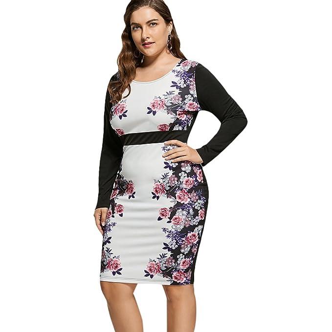 DressLily Plus Size Floral Print High Waist Pencil Dress at ...