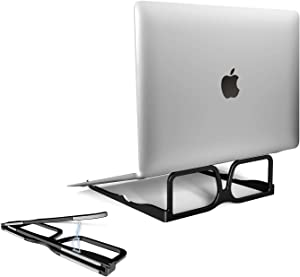"""Portable Laptop Stand Foldable,SUNTAIHO Aluminum MacBook Stand for Desk,Ergonomic Cute Notebook Stand for MacBook Air, Dell, Ipad,Hp,Surface,Lenovo and More 10-15.6"""" Laptops - Black"""