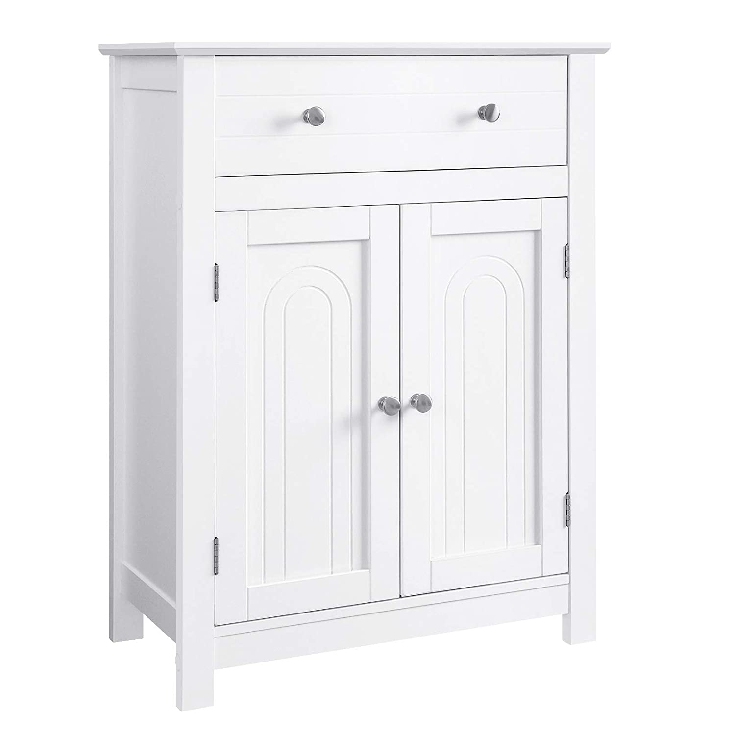 "VASAGLE Free Standing Bathroom Cabinet with Drawer and Adjustable Shelf, Kitchen Cupboard, Wooden Entryway Storage Cabinet White, 23.6"" L x 11.8"" W x 31.5"" H UBBC61WT"