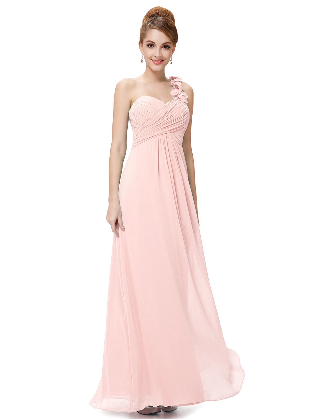 Ever-Pretty Womens Empire Waist Ruched Floor Length Bridesmaids Dress 4 US Pink