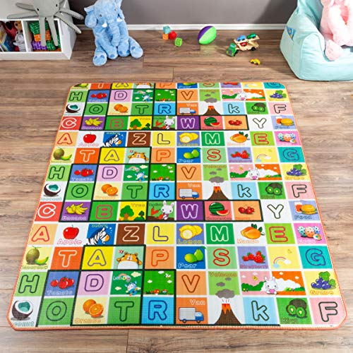 (Reversible Baby Play Mat for Babies and Toddlers- Giant Learning Playmat with Alphabet and Animal Scenes- Nonslip, Nontoxic, Waterproof)