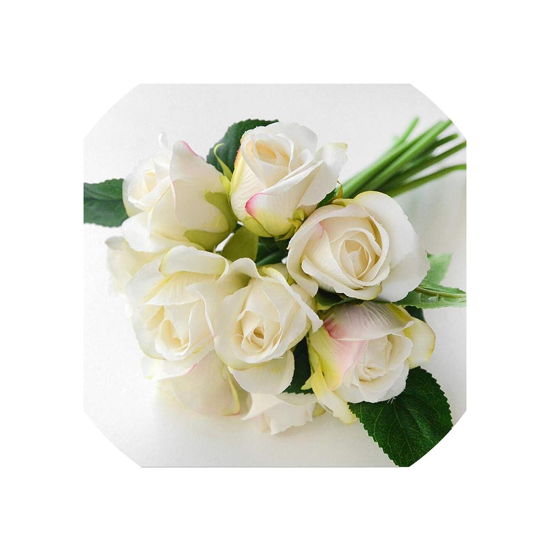 Old Street 造花 バラ ブーケ 12本 装飾用 シルクフラワー 花嫁 ブーケ 結婚式 ホームパーティー 装飾 ウェディング用品 B07QFR5F4X 9pcs White1