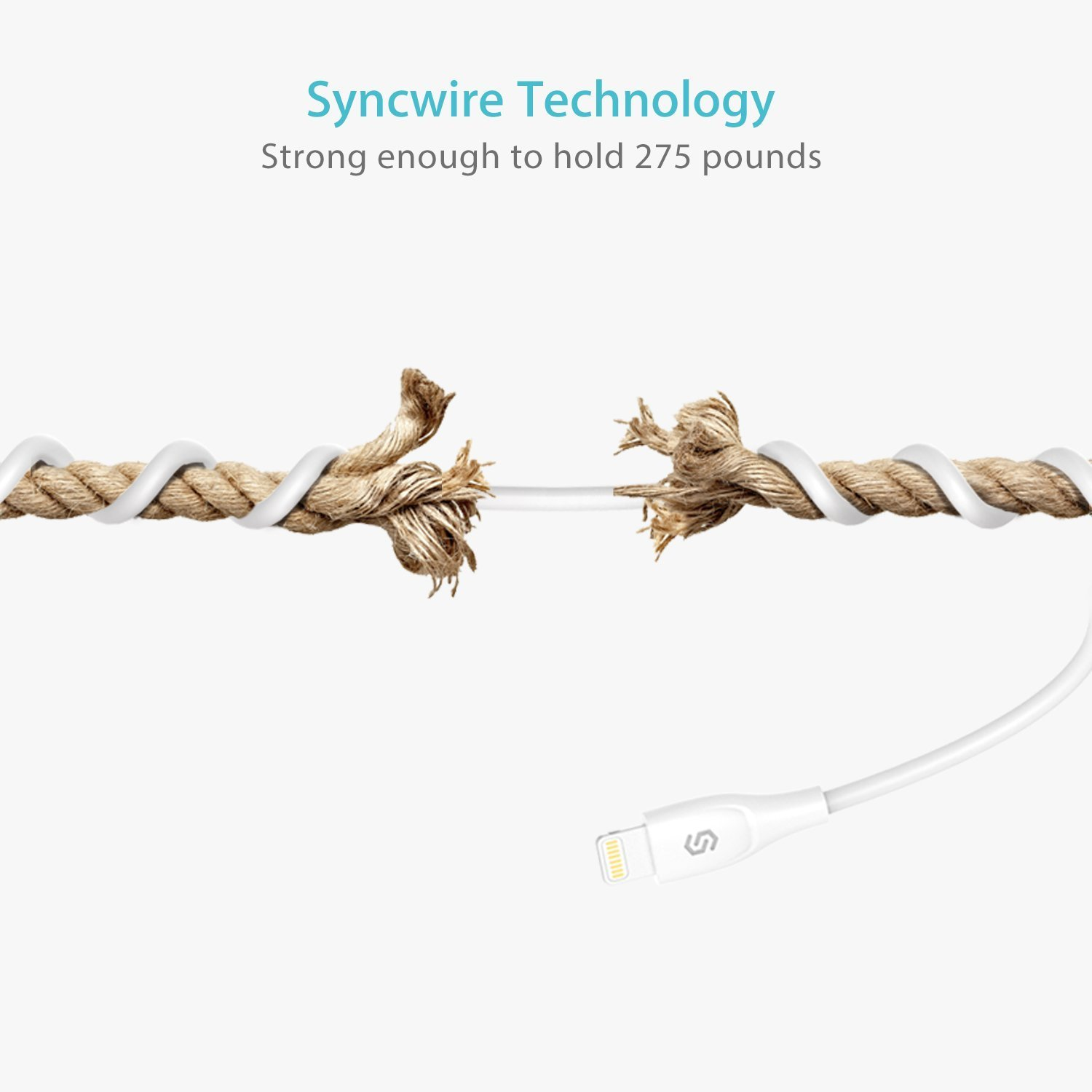 Syncwire Cable Lightning Cable Cargador iPhone 2M - Certificado Apple MFi Blanco Ultra Durable Cable iPhone Carga R/ápida para iPhone XS MAX XR X 8 Plus 7 Plus 6S 6 Plus 5 5S 5C SE iPad iPod